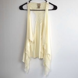 Eyelash Couture Ivory Handkerchief Hem Vest